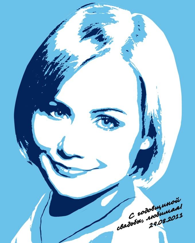 Поп арт портрет по фотографии 30x40 см от 3 300 руб