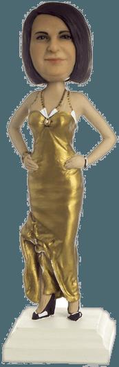Подарок женщине по фото «В золотом платье» 30 см