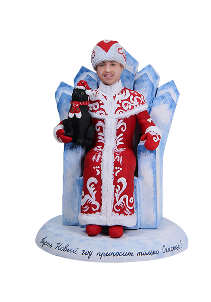 "Портретная статуэтка мужчине ""Новогодний Дед Мороз"", 20 см. от 18 700 руб"